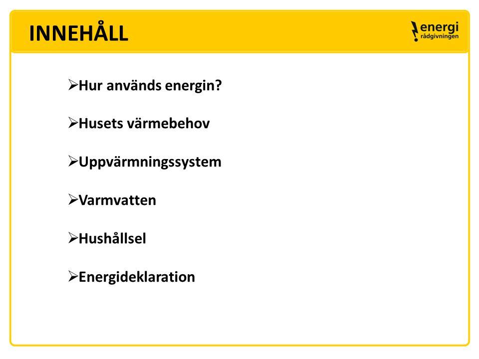 INNEHÅLL Hur används energin Husets värmebehov Uppvärmningssystem