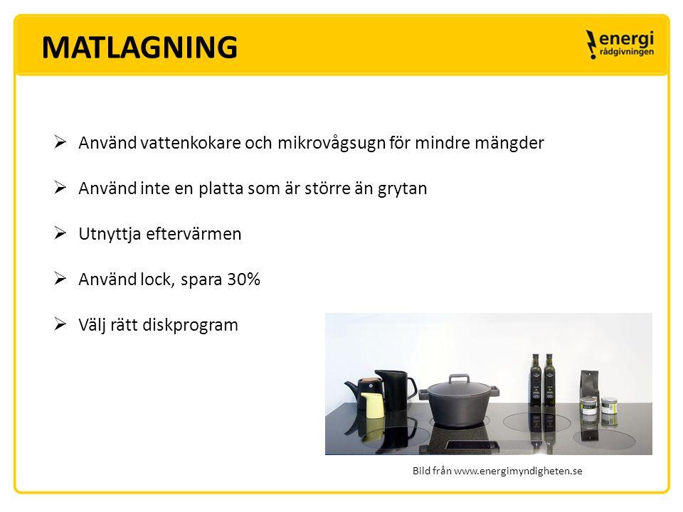 MATLAGNING Använd vattenkokare och mikrovågsugn för mindre mängder