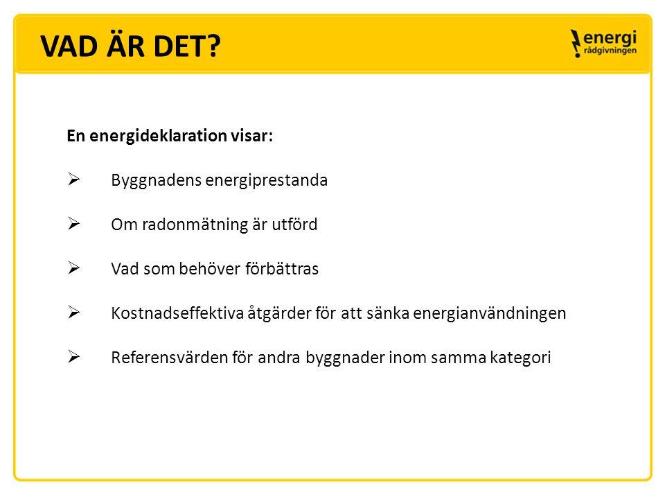 VAD ÄR DET En energideklaration visar: Byggnadens energiprestanda