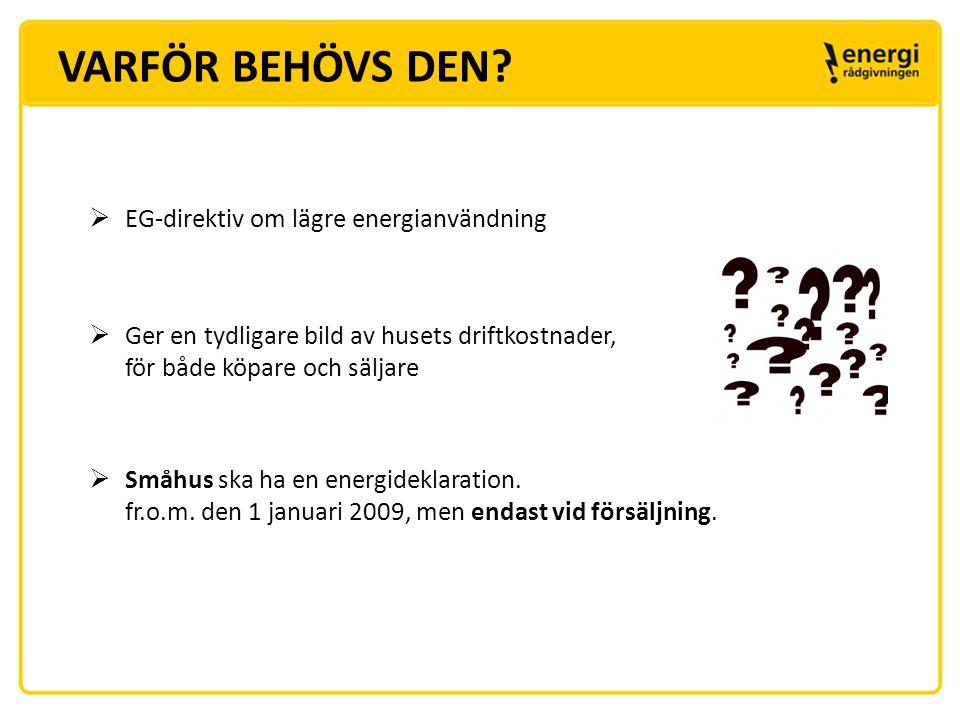 VARFÖR BEHÖVS DEN EG-direktiv om lägre energianvändning