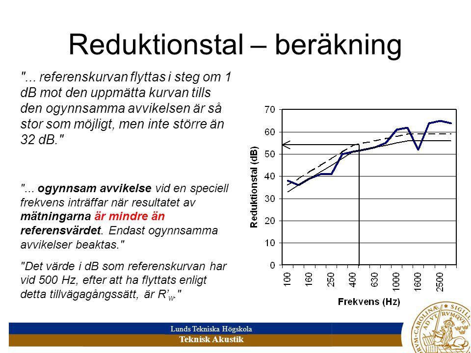 Reduktionstal – beräkning