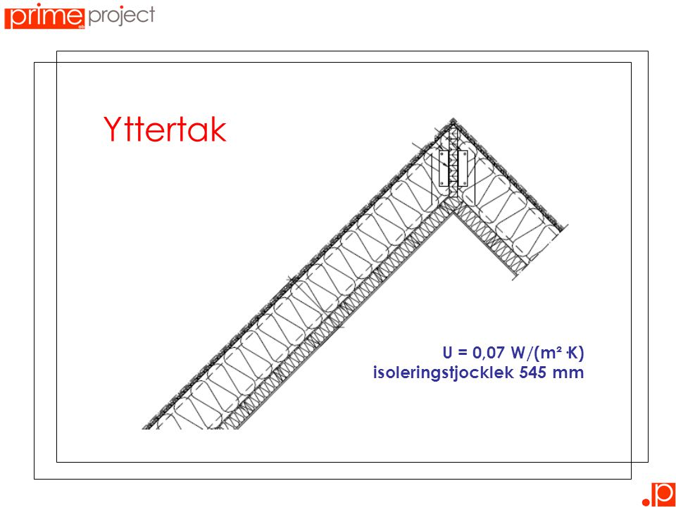 Yttertak U = 0,07 W/(m²·K) isoleringstjocklek 545 mm