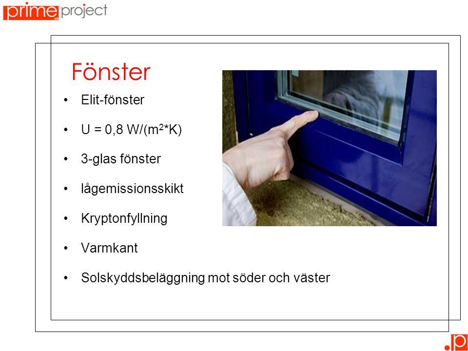 Fönster Elit-fönster U = 0,8 W/(m2*K) 3-glas fönster lågemissionsskikt