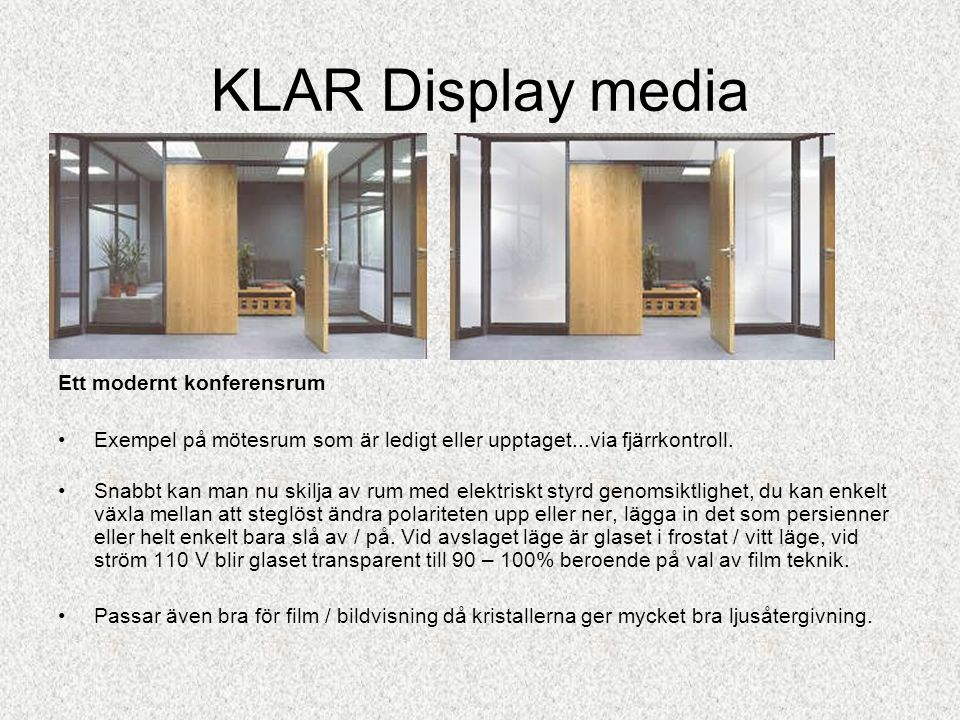 KLAR Display media Ett modernt konferensrum