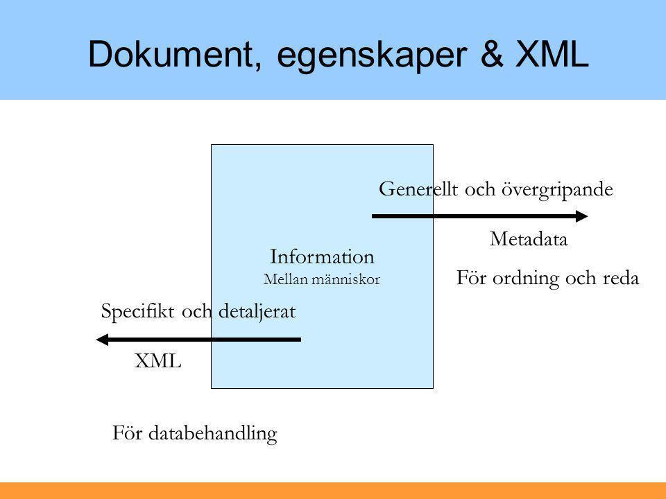 Dokument, egenskaper & XML