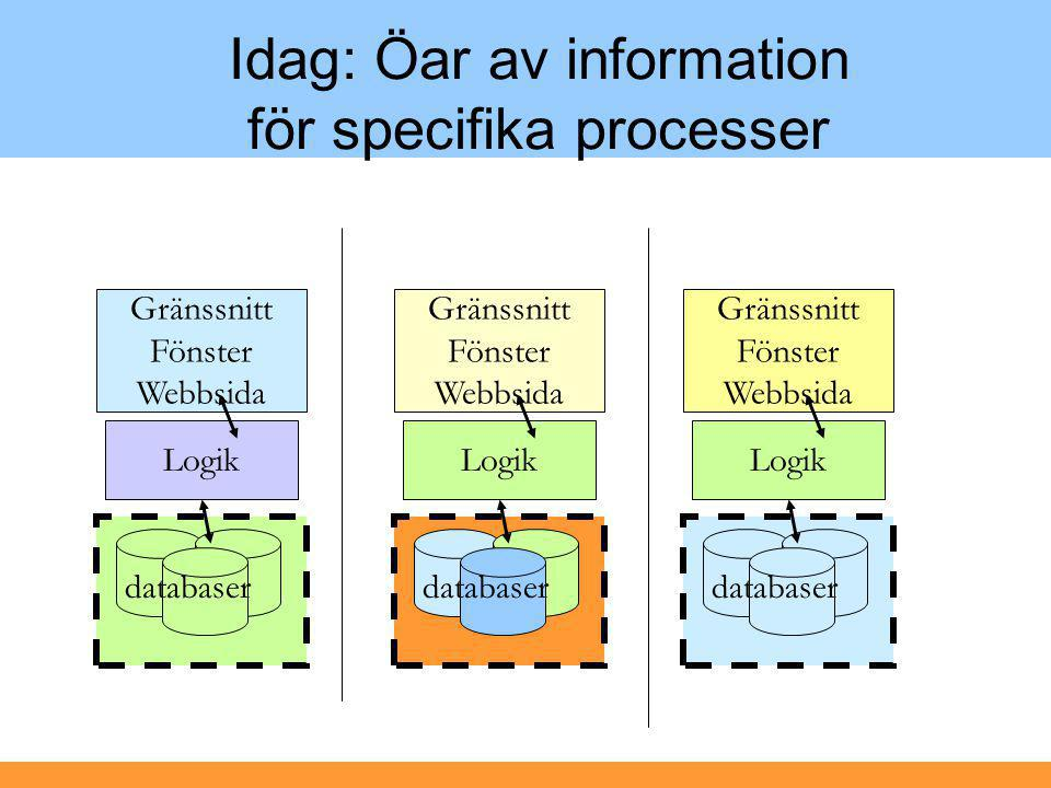 Idag: Öar av information för specifika processer
