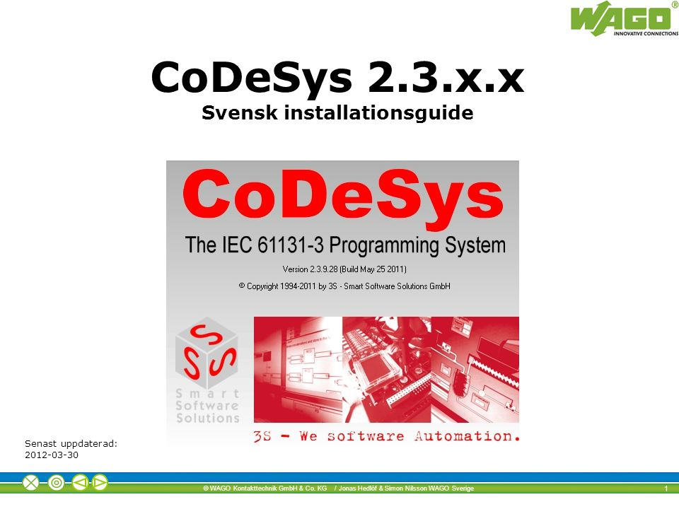 CoDeSys 2.3.x.x Svensk installationsguide