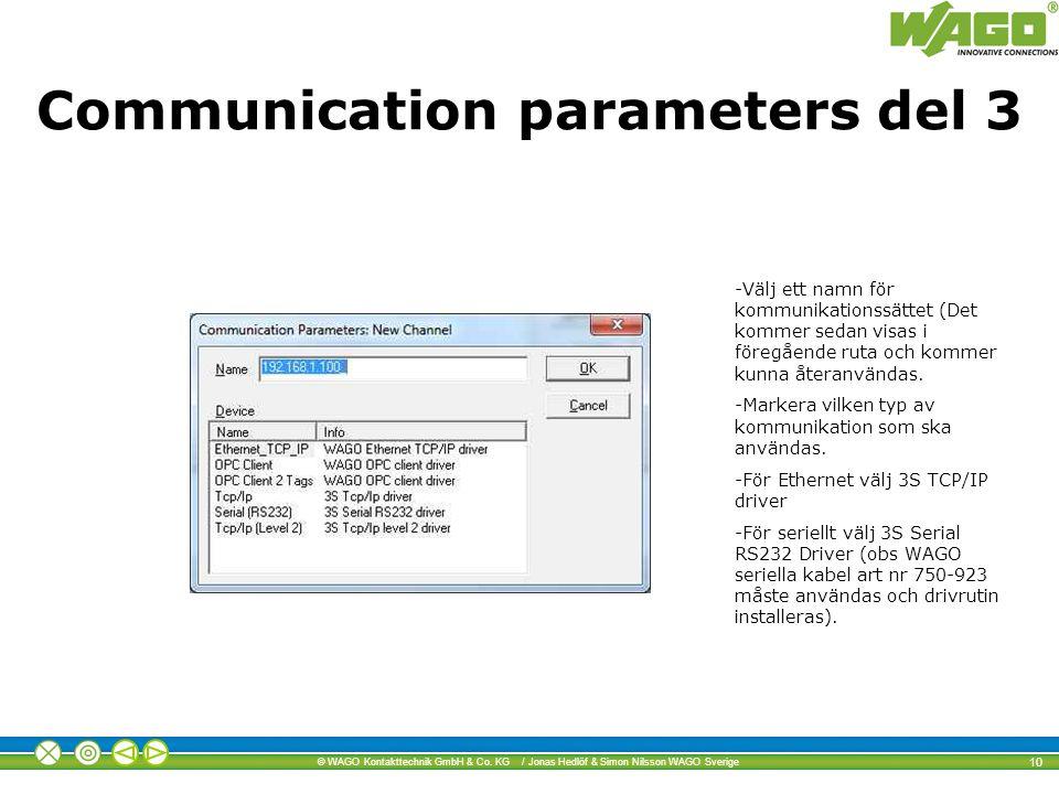 Communication parameters del 3