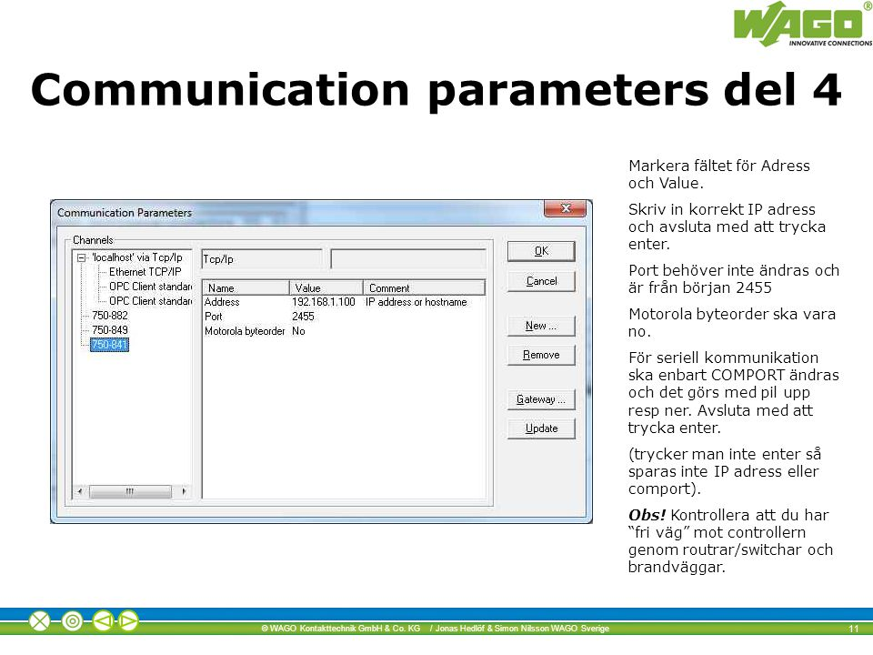 Communication parameters del 4