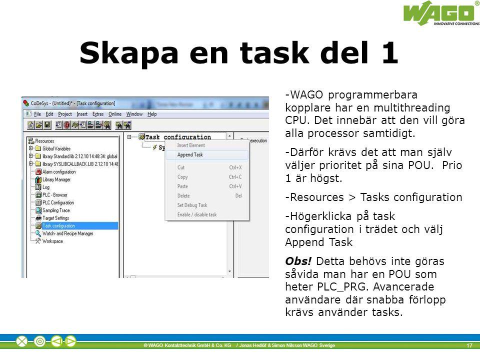 Skapa en task del 1 WAGO programmerbara kopplare har en multithreading CPU. Det innebär att den vill göra alla processor samtidigt.