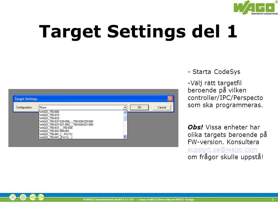 Target Settings del 1 - Starta CodeSys