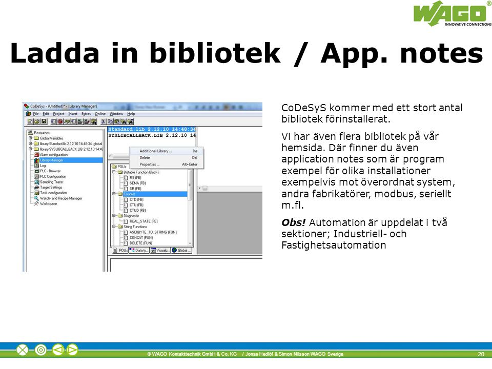 Ladda in bibliotek / App. notes