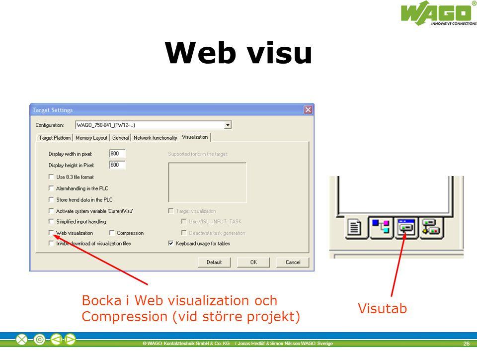 Web visu Bocka i Web visualization och Compression (vid större projekt) Visutab