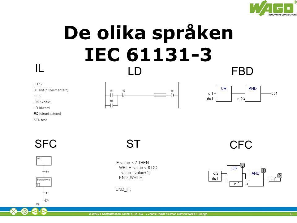 De olika språken IEC 61131-3 IL LD FBD SFC ST CFC