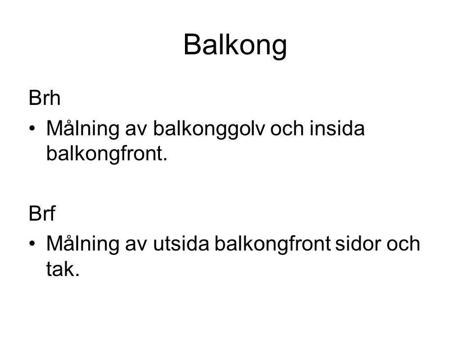 Balkong Brh Målning av balkonggolv och insida balkongfront. Brf