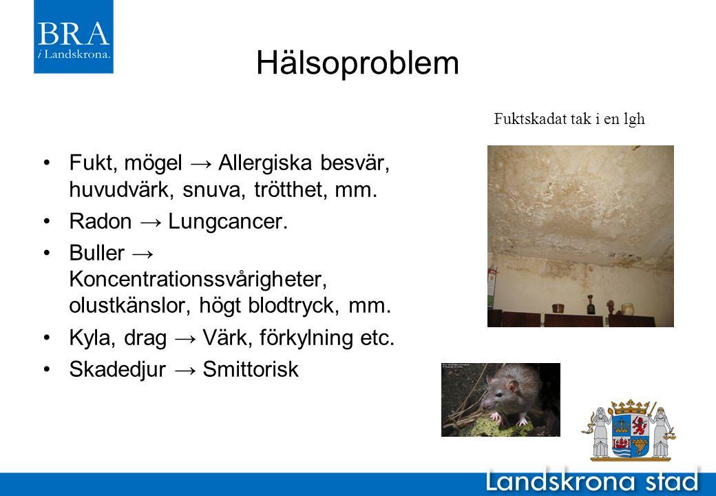 Hälsoproblem Fuktskadat tak i en lgh. Fukt, mögel → Allergiska besvär, huvudvärk, snuva, trötthet, mm.