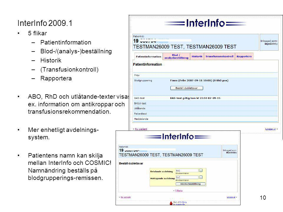 InterInfo 2009.1 5 flikar Patientinformation