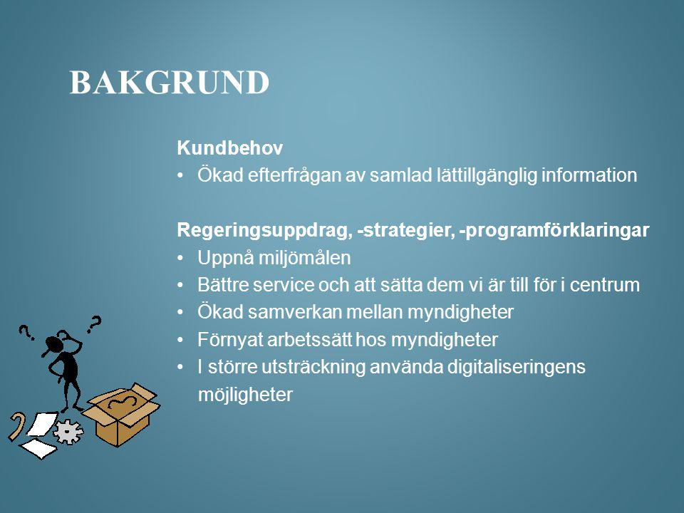 Bakgrund Kundbehov. Ökad efterfrågan av samlad lättillgänglig information. Regeringsuppdrag, -strategier, -programförklaringar.