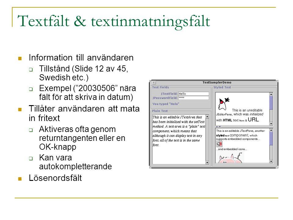 Textfält & textinmatningsfält