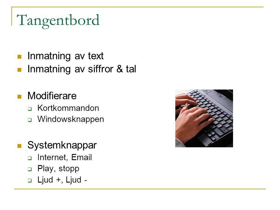 Tangentbord Inmatning av text Inmatning av siffror & tal Modifierare