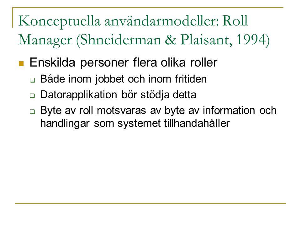 Konceptuella användarmodeller: Roll Manager (Shneiderman & Plaisant, 1994)