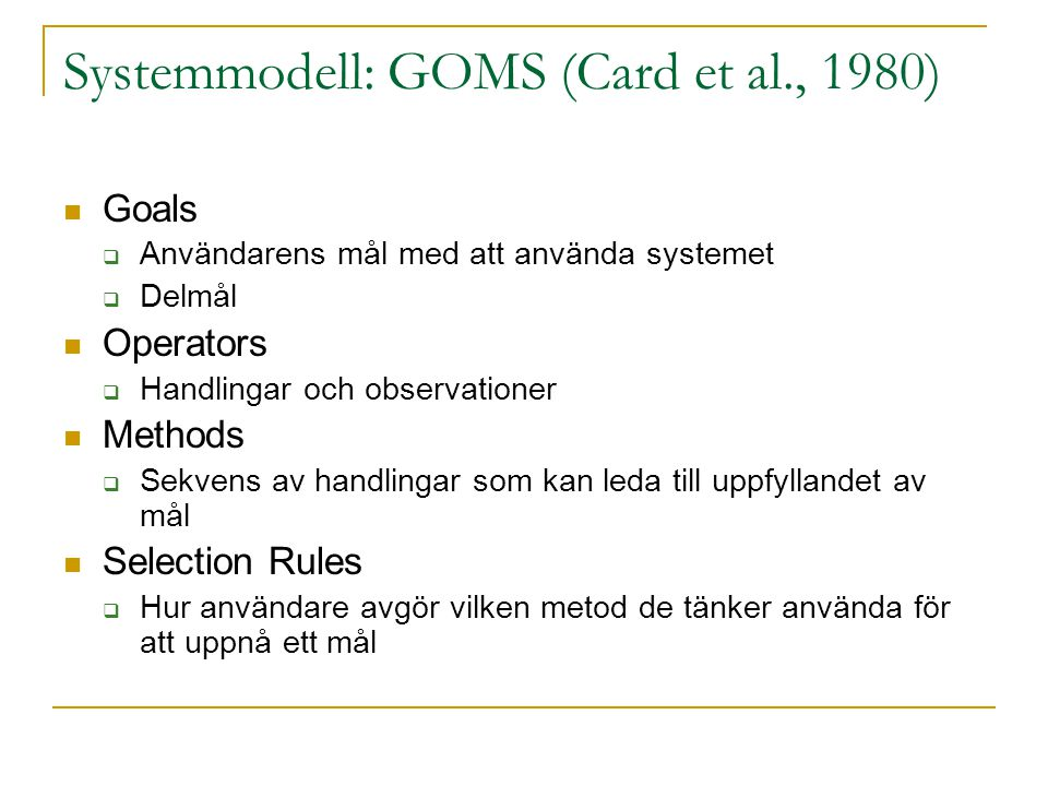 Systemmodell: GOMS (Card et al., 1980)