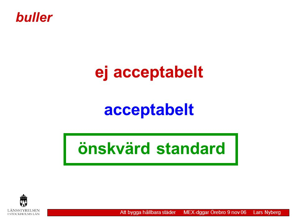 ej acceptabelt acceptabelt önskvärd standard buller