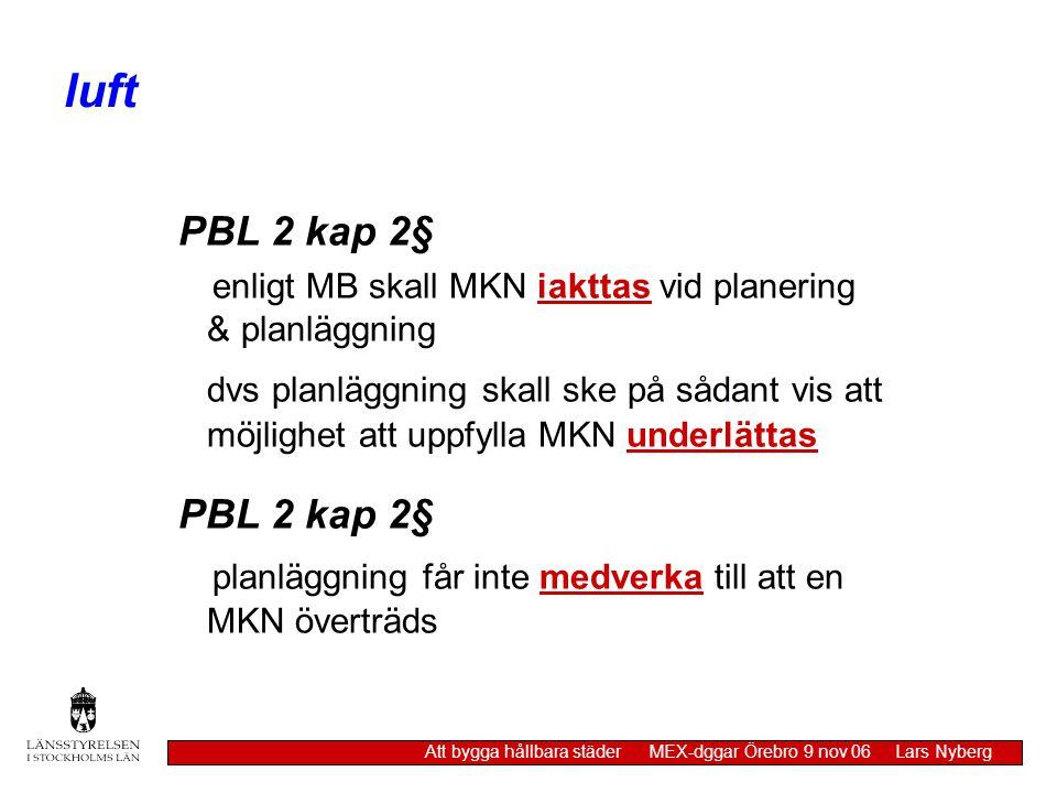 luft PBL 2 kap 2§ enligt MB skall MKN iakttas vid planering