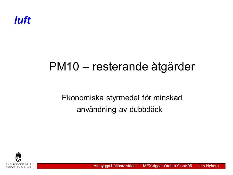 PM10 – resterande åtgärder