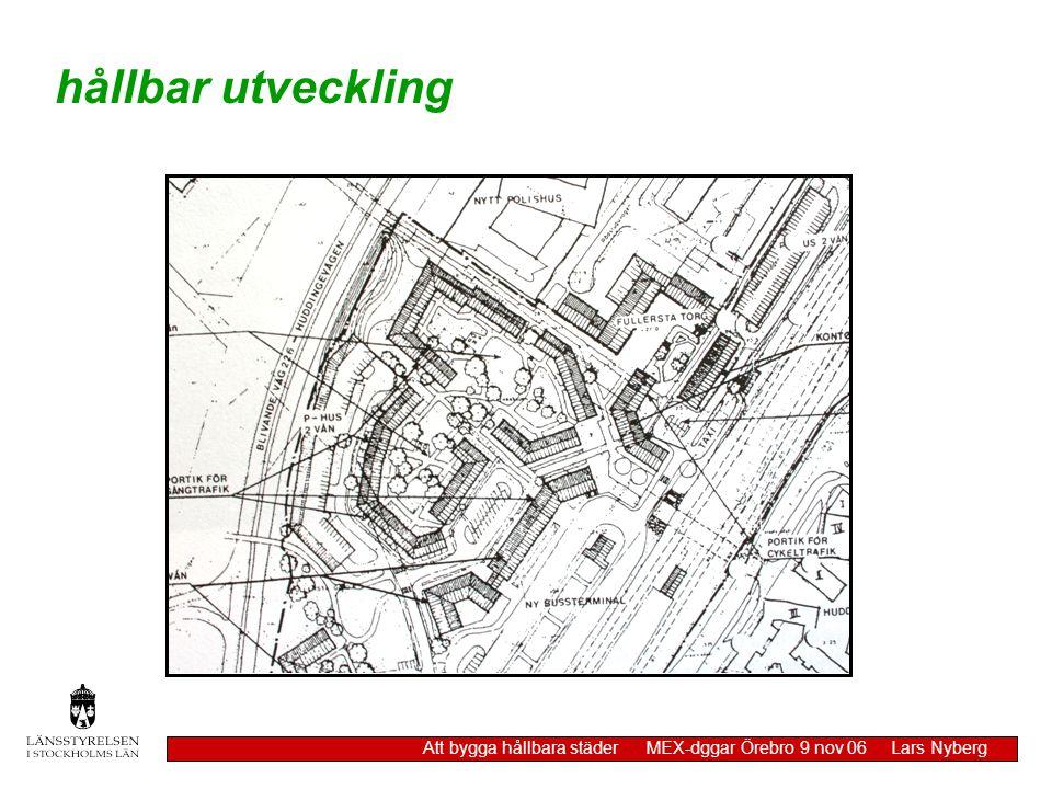 hållbar utveckling Att bygga hållbara städer MEX-dggar Örebro 9 nov 06 Lars Nyberg