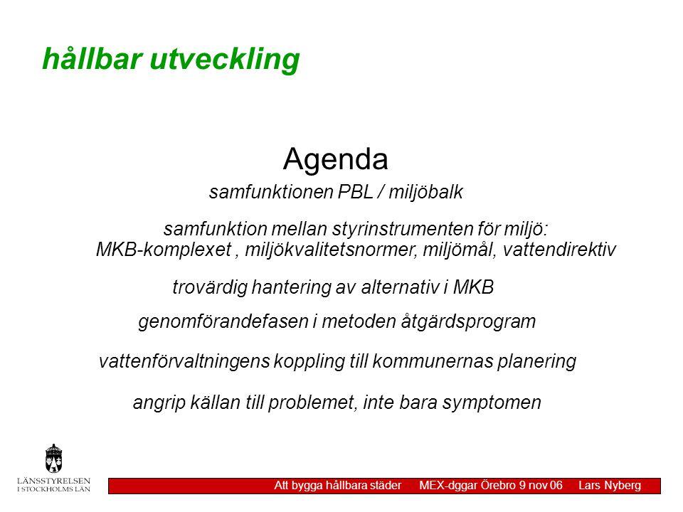 hållbar utveckling Agenda samfunktionen PBL / miljöbalk