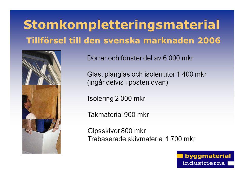 Stomkompletteringsmaterial Tillförsel till den svenska marknaden 2006