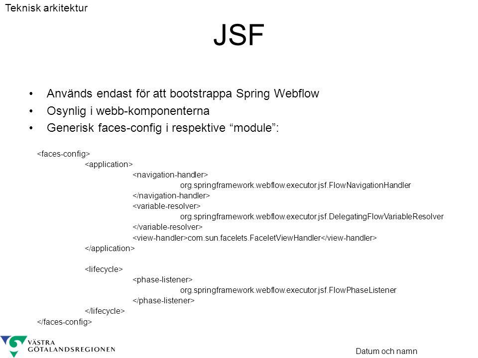 JSF Används endast för att bootstrappa Spring Webflow