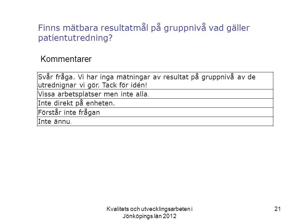Finns mätbara resultatmål på gruppnivå vad gäller patientutredning