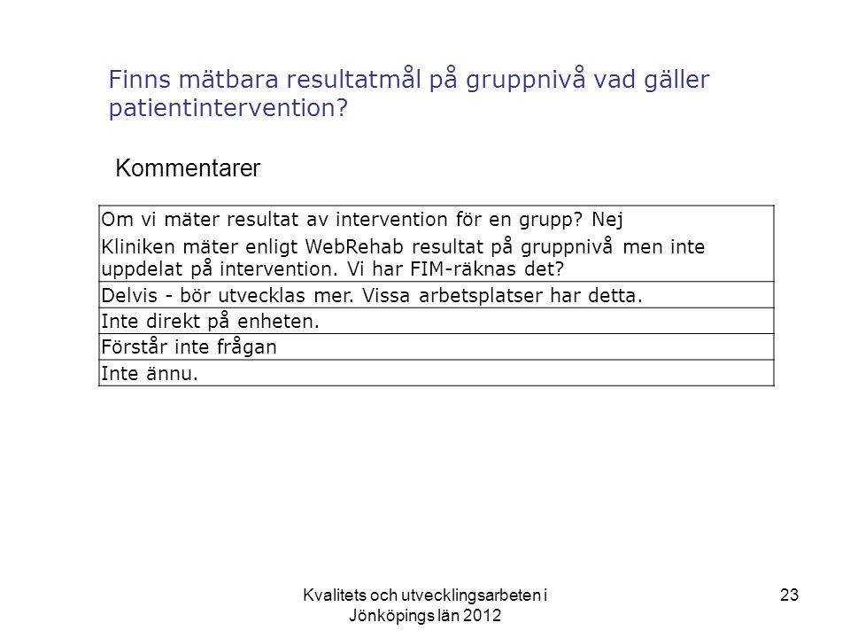 Finns mätbara resultatmål på gruppnivå vad gäller patientintervention