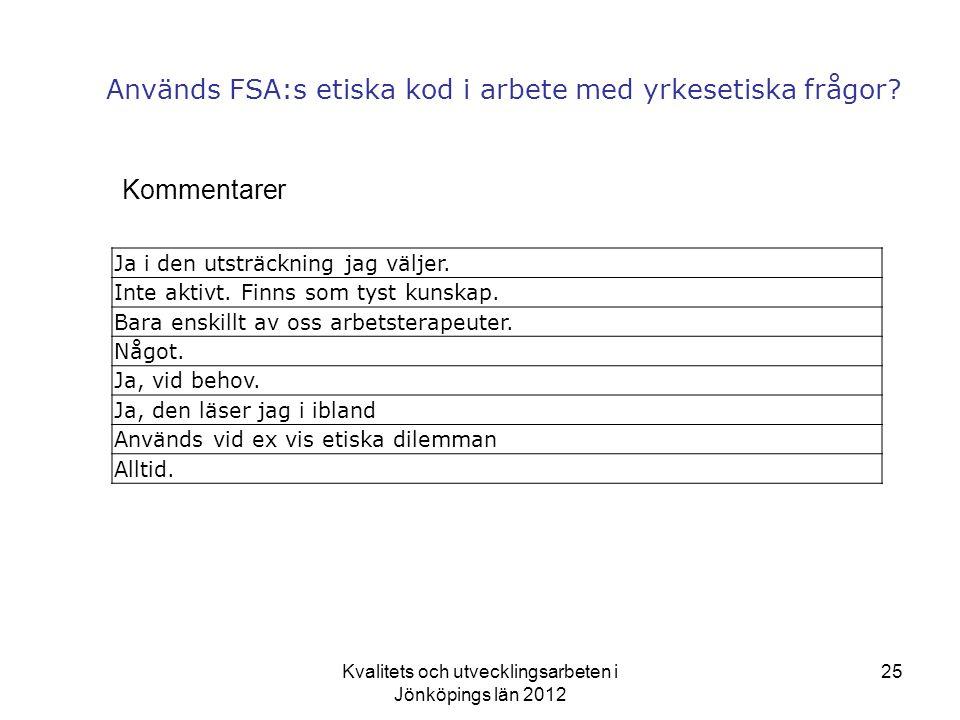 Används FSA:s etiska kod i arbete med yrkesetiska frågor