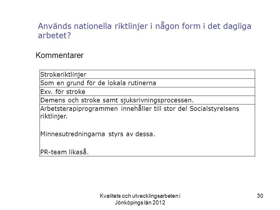 Används nationella riktlinjer i någon form i det dagliga arbetet