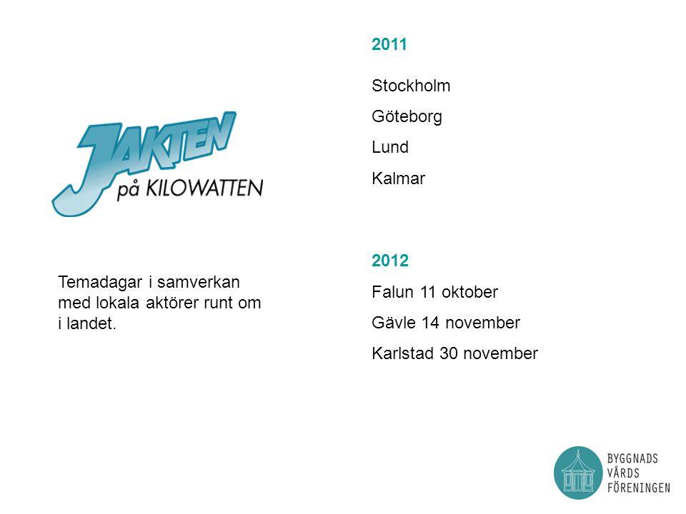 2011 Stockholm Göteborg. Lund. Kalmar. 2012. Falun 11 oktober. Gävle 14 november. Karlstad 30 november.
