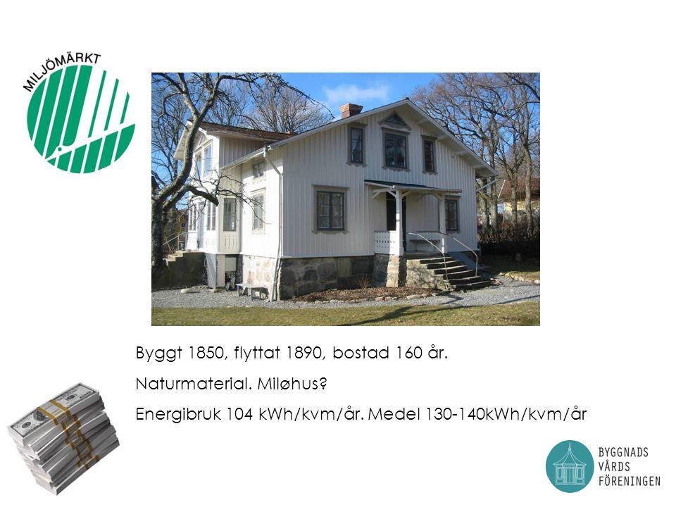 Byggt 1850, flyttat 1890, bostad 160 år.