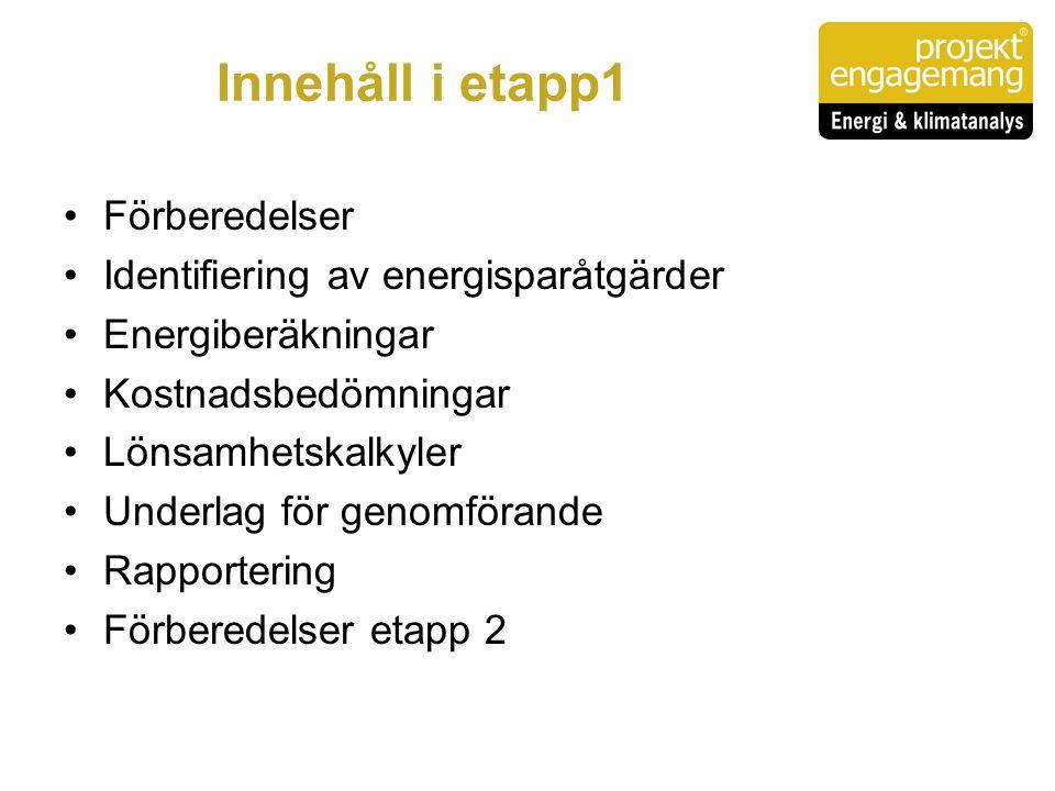 Innehåll i etapp1 Förberedelser Identifiering av energisparåtgärder