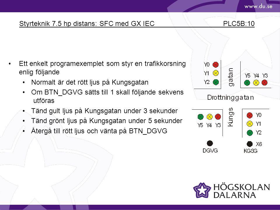 Styrteknik 7.5 hp distans: SFC med GX IEC PLC5B:10