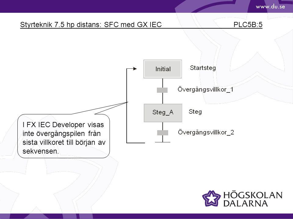 Styrteknik 7.5 hp distans: SFC med GX IEC PLC5B:5