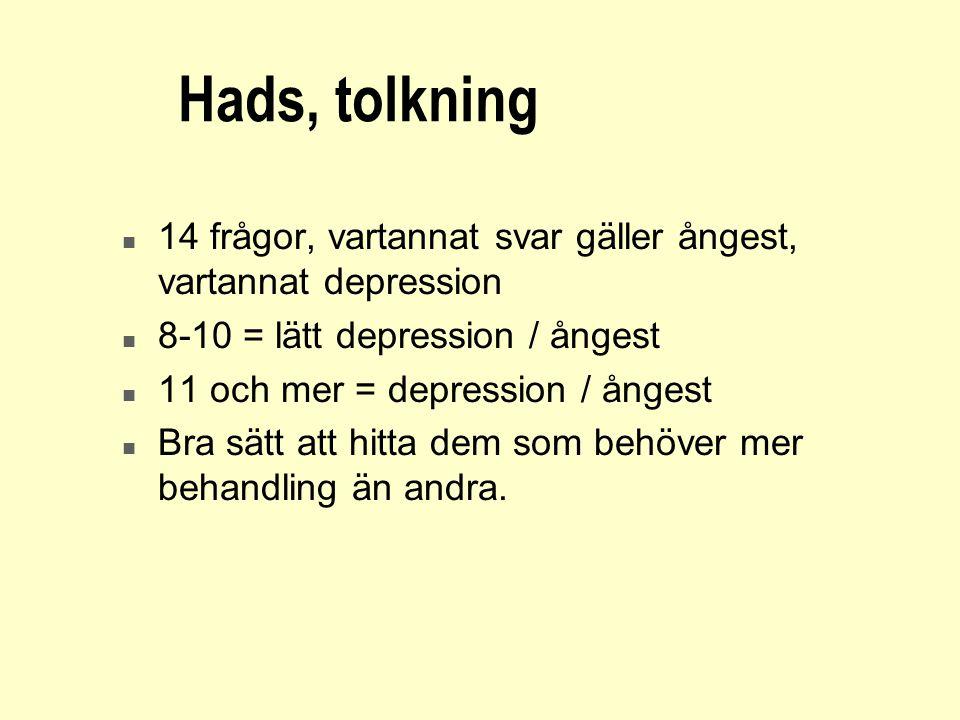 2017-04-03 Hads, tolkning. 14 frågor, vartannat svar gäller ångest, vartannat depression. 8-10 = lätt depression / ångest.