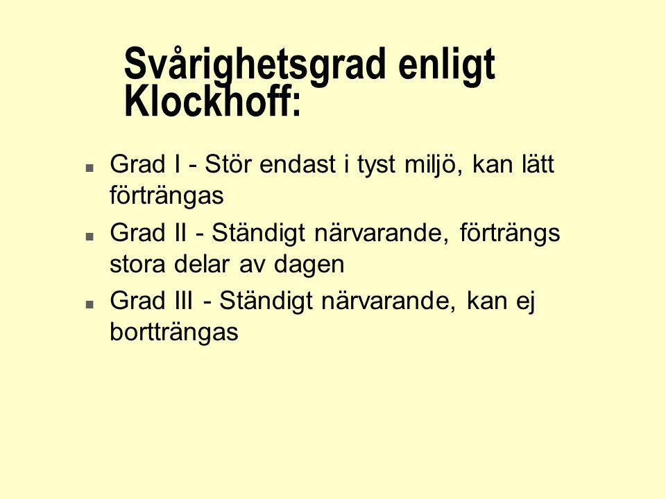 Svårighetsgrad enligt Klockhoff: