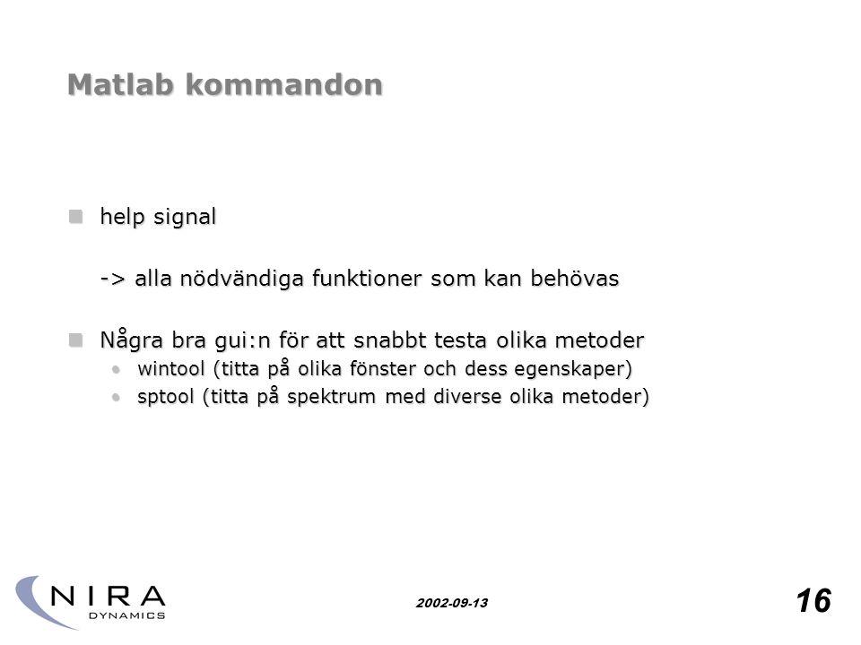 Matlab kommandon help signal