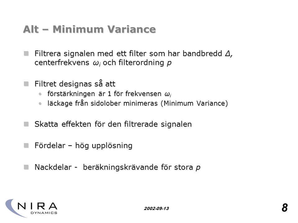 Alt – Minimum Variance Filtrera signalen med ett filter som har bandbredd Δ, centerfrekvens ωi och filterordning p.