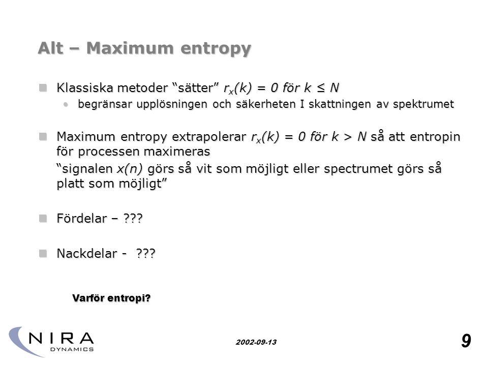 Alt – Maximum entropy Klassiska metoder sätter rx(k) = 0 för k ≤ N