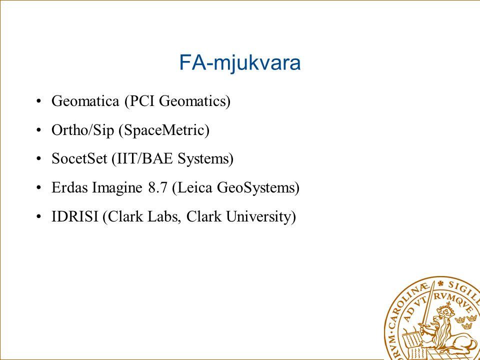 FA-mjukvara Geomatica (PCI Geomatics) Ortho/Sip (SpaceMetric)