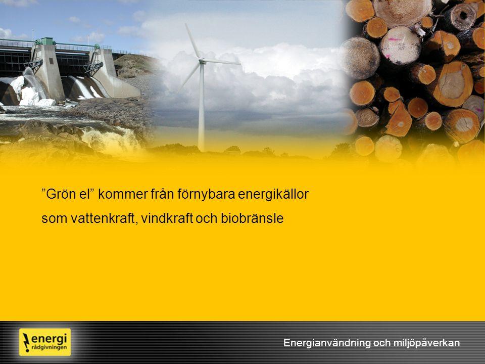 Grön el kommer från förnybara energikällor