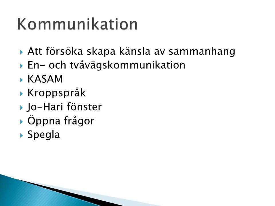 Kommunikation Att försöka skapa känsla av sammanhang